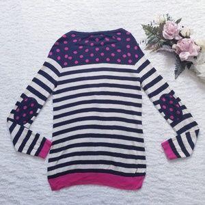 Elbow Patch Stripe & Polka Dot Pink & Blue Cardi